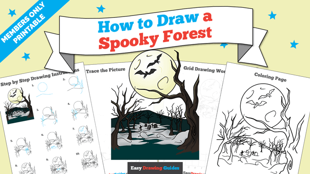 download a printable PDF of Spooky Forest drawing tutorial