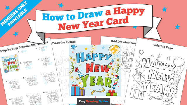 download a printable PDF of Happy New Year Card drawing tutorial