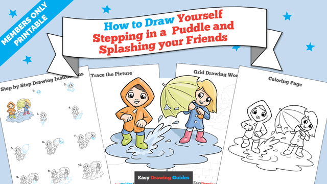 download a printable PDF of Yourself Stepping in a Puddle and Splashing your Friends drawing tutorial