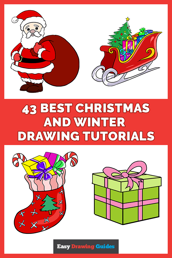 43 Best Christmas and Winter Drawing Tutorials - Pinterest image