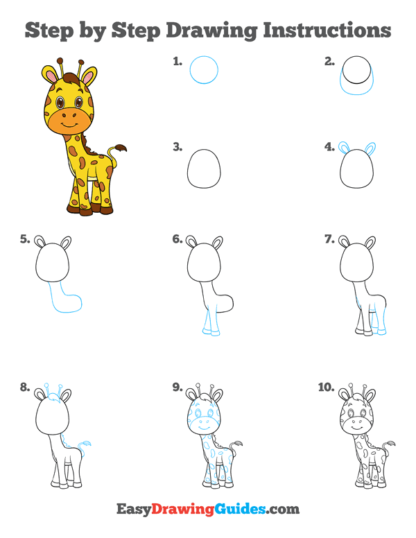 How to Draw Baby Giraffe Printable - Page 2
