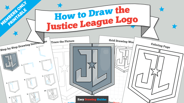download a printable PDF of Justice League Logo drawing tutorial