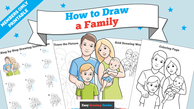 Printables thumbnail: How to Draw a Family