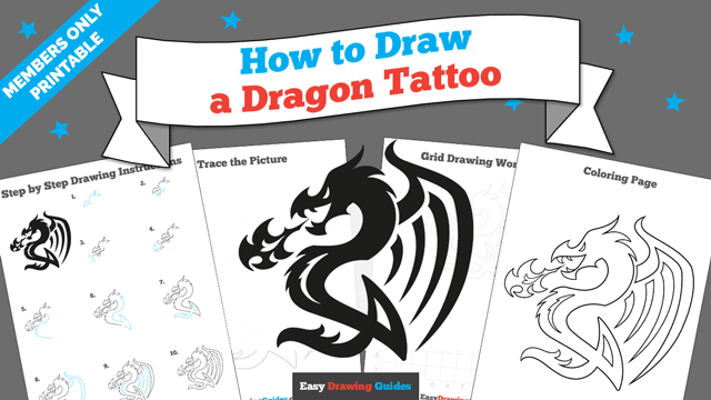 download a printable PDF of Dragon Tattoo drawing tutorial