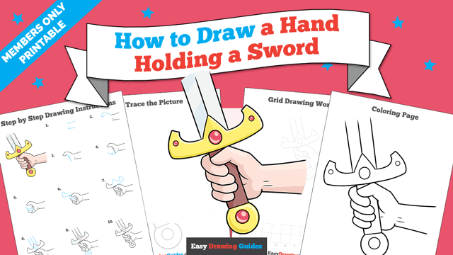 download a printable PDF of Hand Holding a Sword drawing tutorial