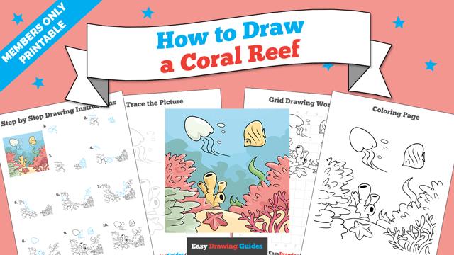 download a printable PDF of Coral Reef drawing tutorial