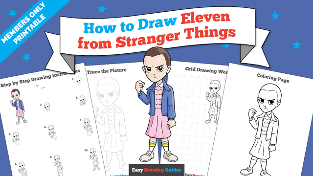 download a printable PDF of Eleven from Stranger Things drawing tutorial