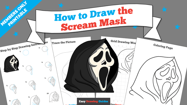 Printables thumbnail: How to Draw the Scream Mask