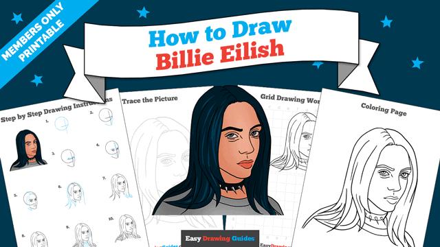 download a printable PDF of Billie Eilish drawing tutorial