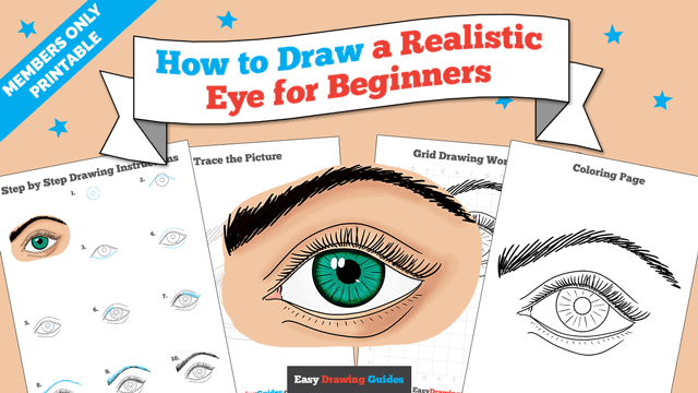 download a printable PDF of Realistic Eye for Beginners drawing tutorial