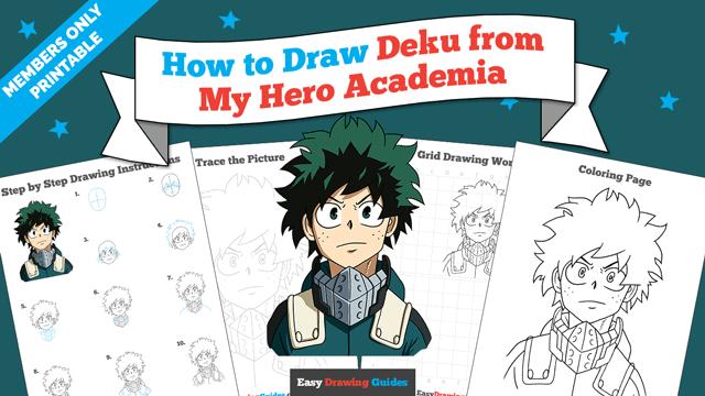 Printables thumbnail: How to Draw Deku from My Hero Academia