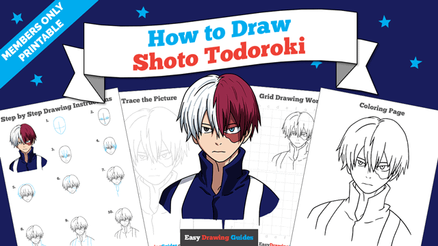 download a printable PDF of Shoto Todoroki from My Hero Academia drawing tutorial