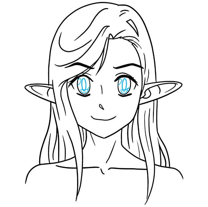 How to Draw Anime Elf: Step 9