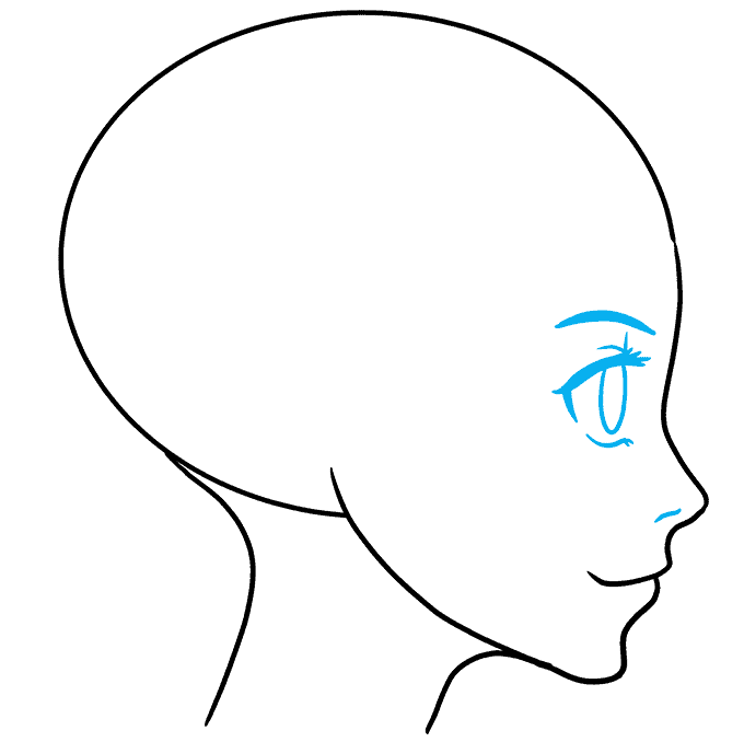 How to Draw an Anime Girl Side View Step 04