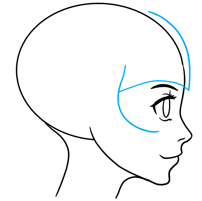 How to Draw Anime Girl Side View: Step 5