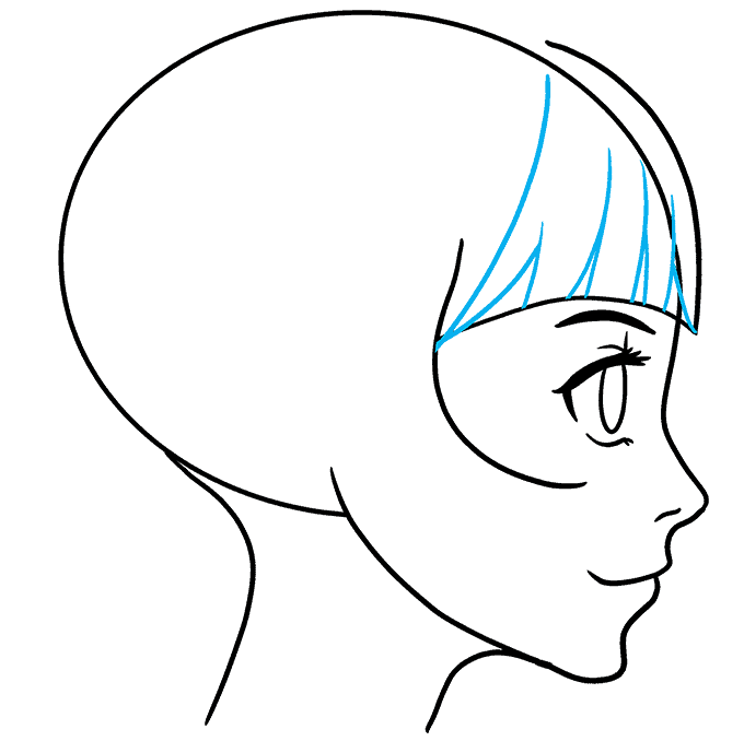 How to Draw Anime Girl Side View: Step 6