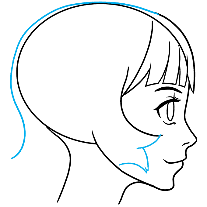 How to Draw Anime Girl Side View: Step 7