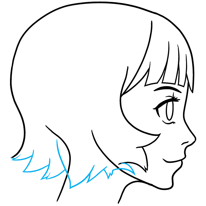 How to Draw an Anime Girl Side View Step 08