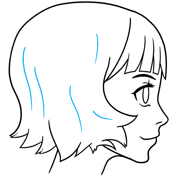 How to Draw an Anime Girl Side View Step 09