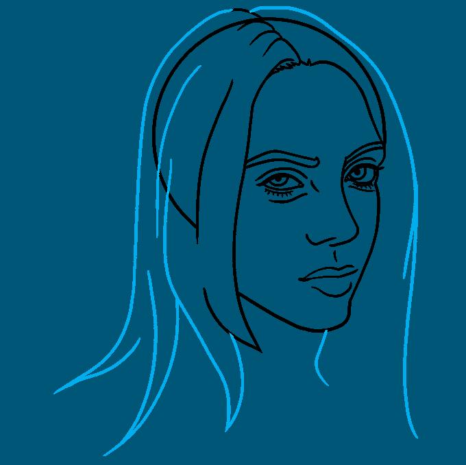 How to Draw Billie Eilish Step 06