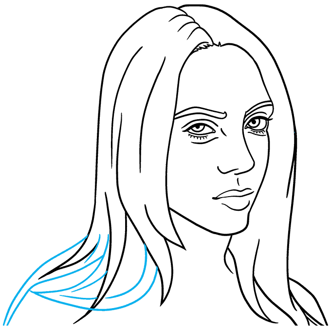How to Draw Billie Eilish Step 08