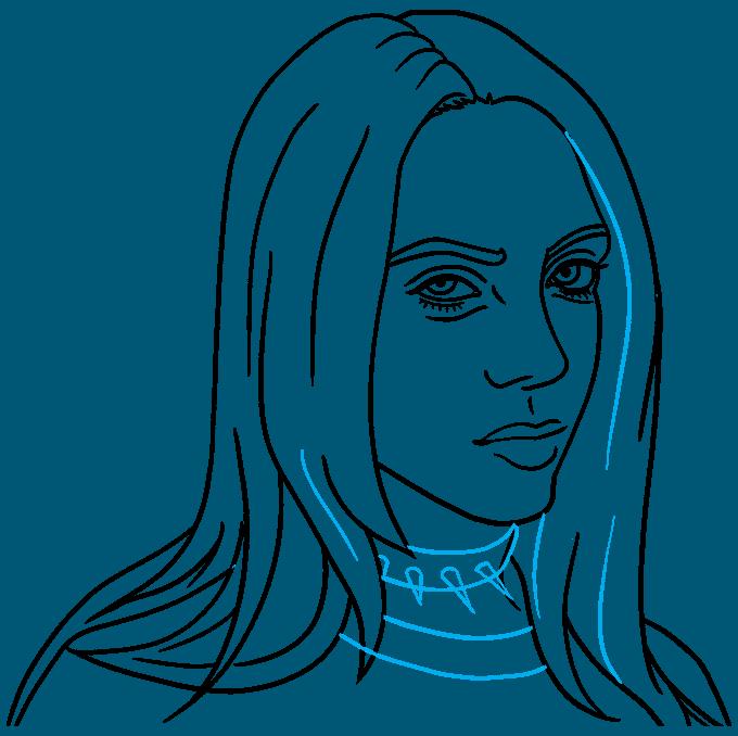 How to Draw Billie Eilish Step 09
