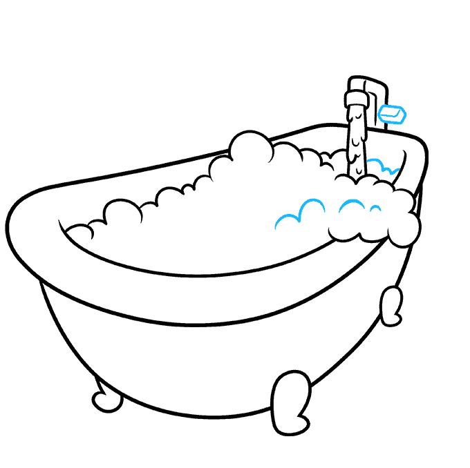 How to Draw a Bubble Bath Step 07