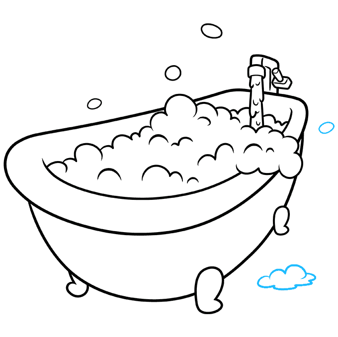 How to Draw a Bubble Bath Step 09