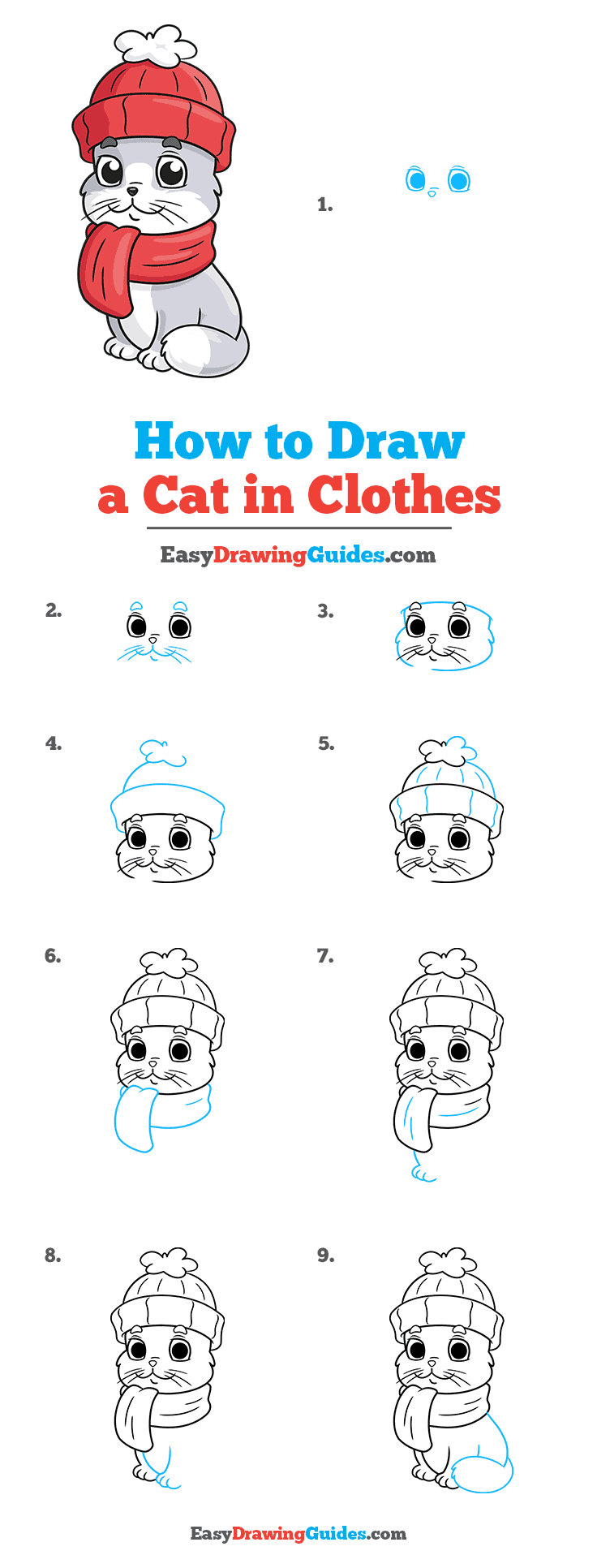 How to Draw a Cat in Clothes Step by Step Tutorial Image