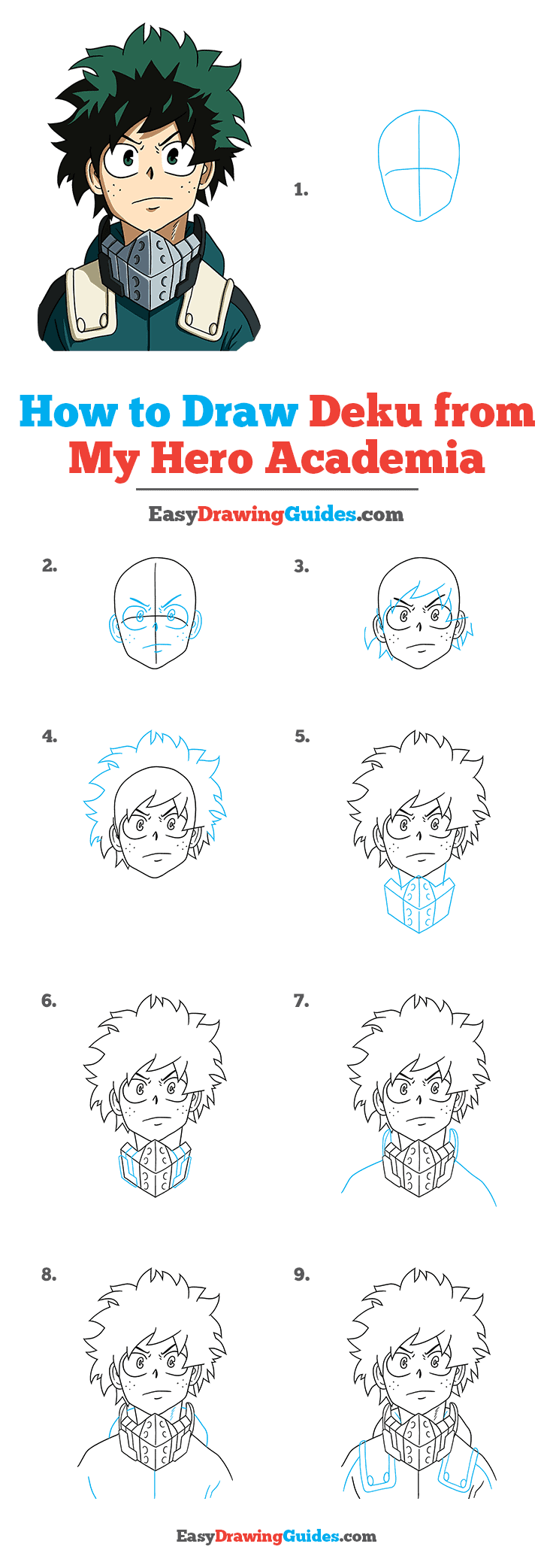 How to Draw Deku from My Hero Academia Step by Step Tutorial Image
