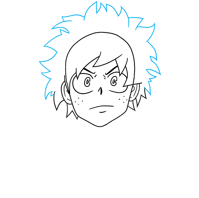 How to Draw Deku from My Hero Academia: Step 4