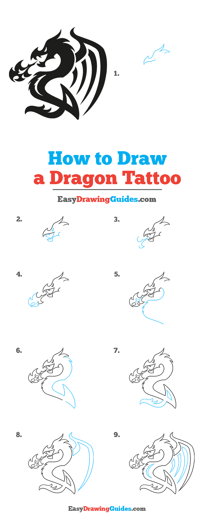 How to Draw a Dragon Tattoo Step by Step Tutorial Image