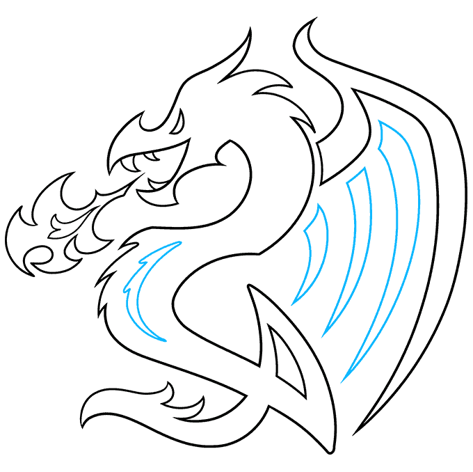 How to Draw a Dragon Tattoo Step 09