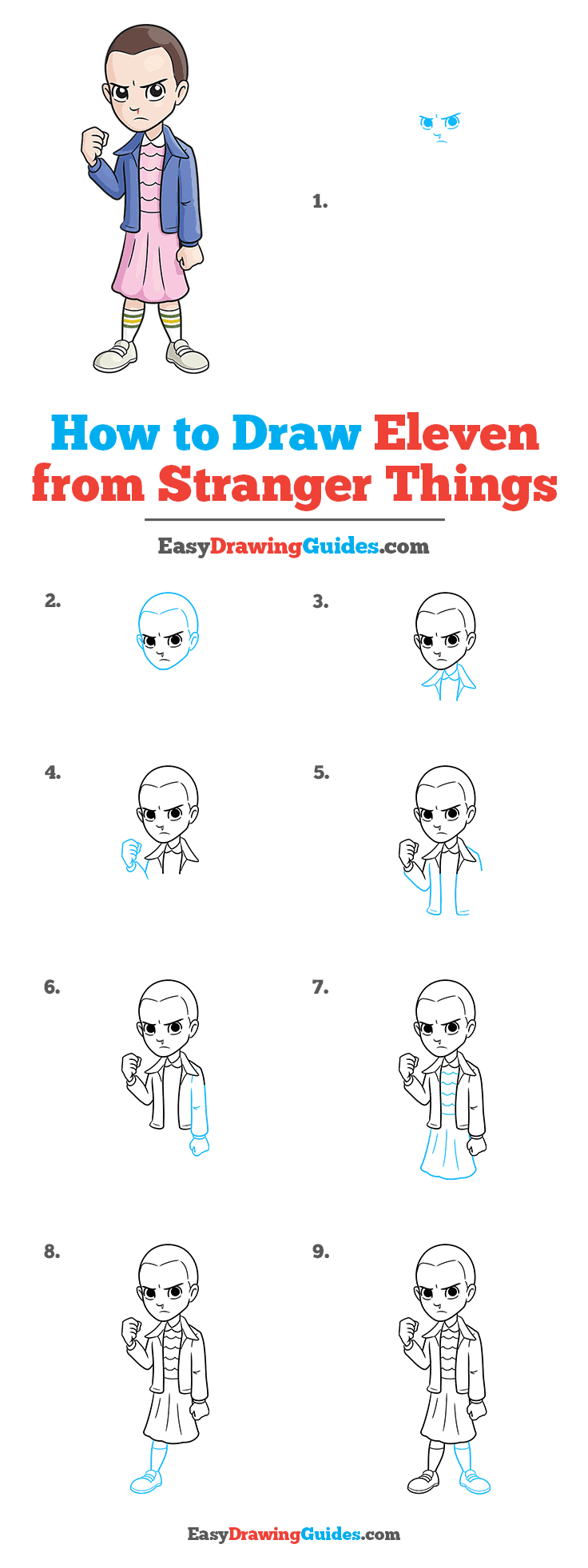 How to Draw Eleven from Stranger Things Step by Step Tutorial Image