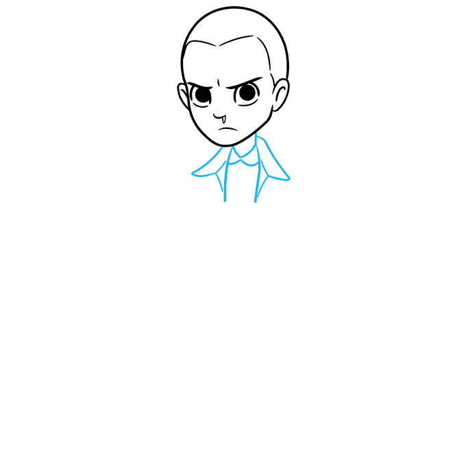 How to Draw Eleven from Stranger Things Step 03