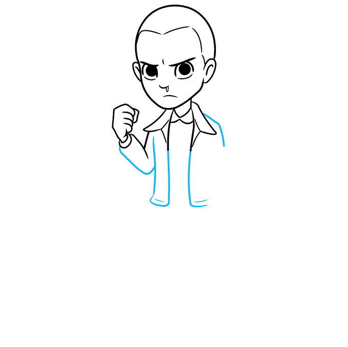 How to Draw Eleven from Stranger Things Step 05