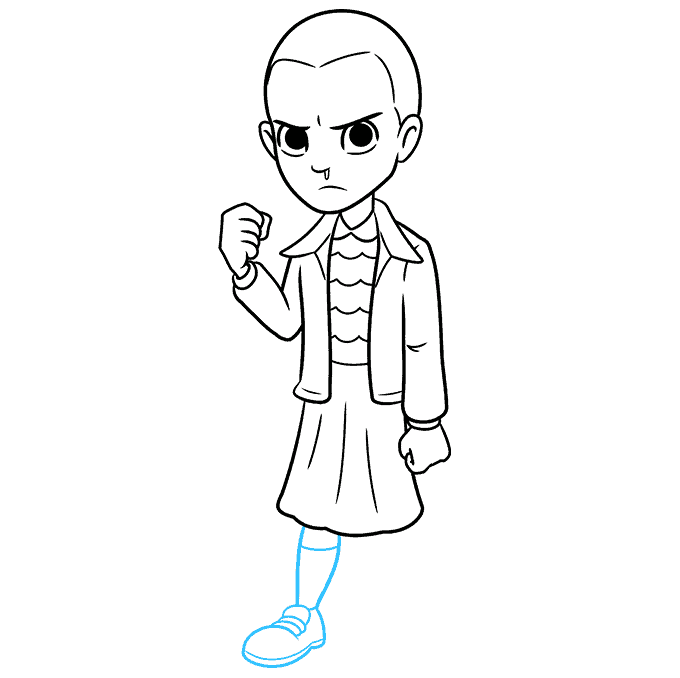 How to Draw Eleven from Stranger Things Step 08