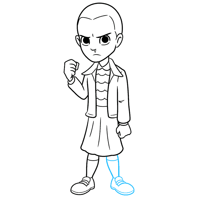 How to Draw Eleven from Stranger Things Step 09
