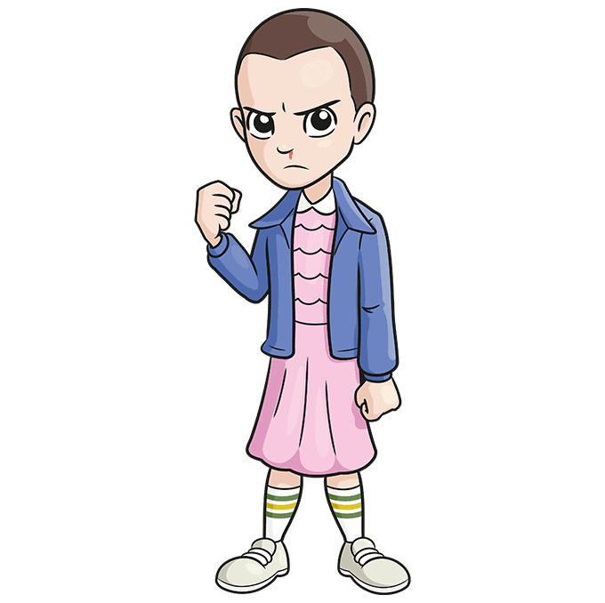 How to Draw Eleven from Stranger Things Step 10