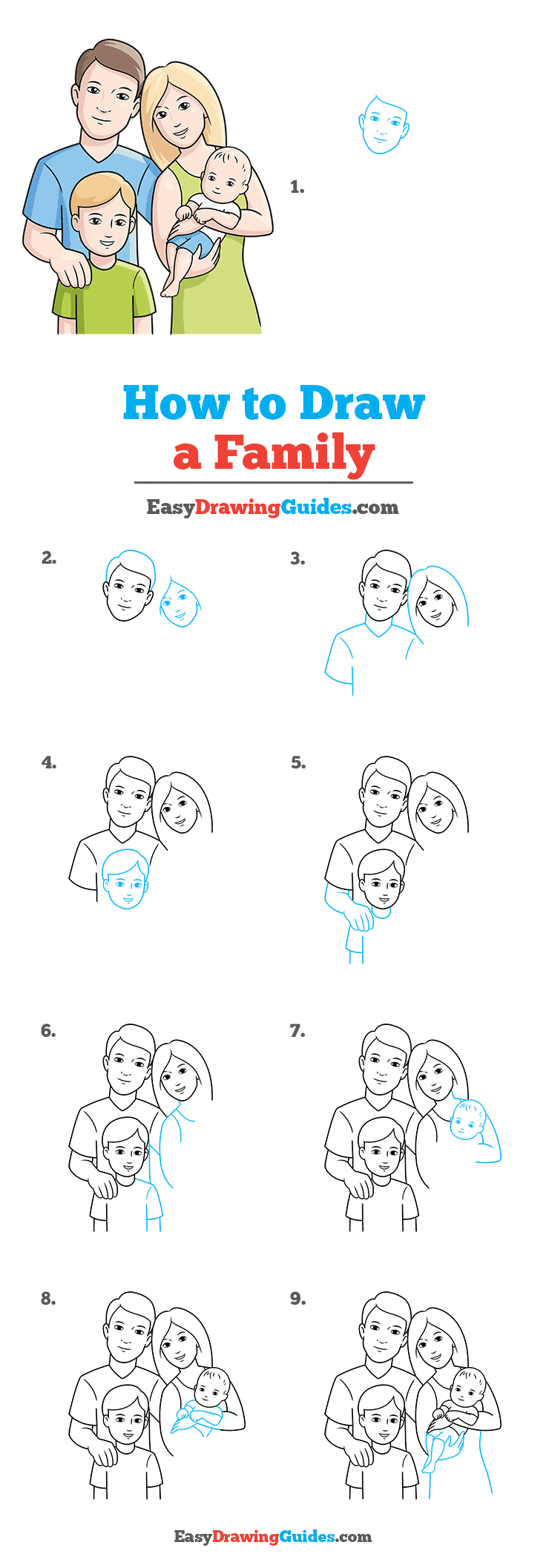 How to Draw a Family Step by Step Tutorial Image