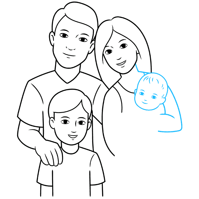 How to Draw a Family Step 07