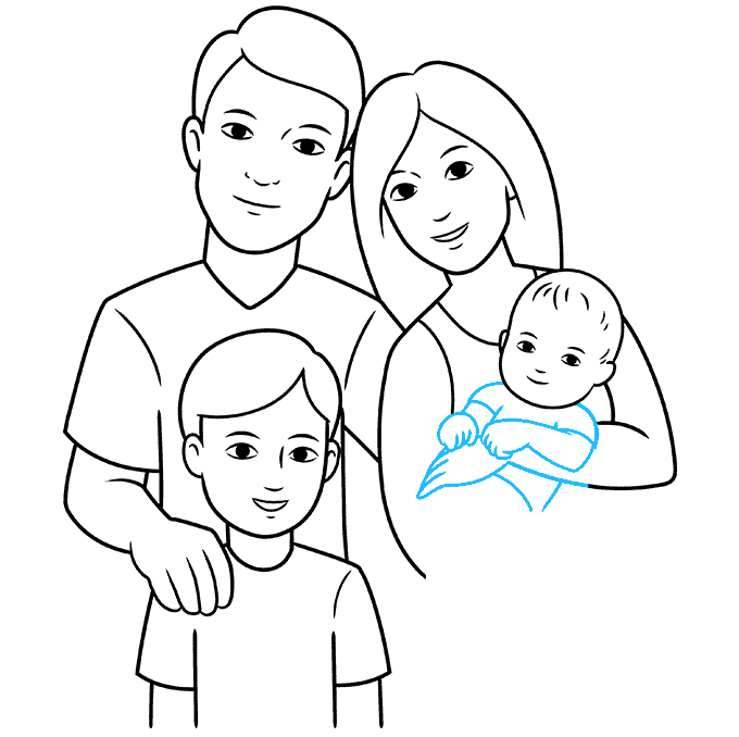 How to Draw Family: Step 8