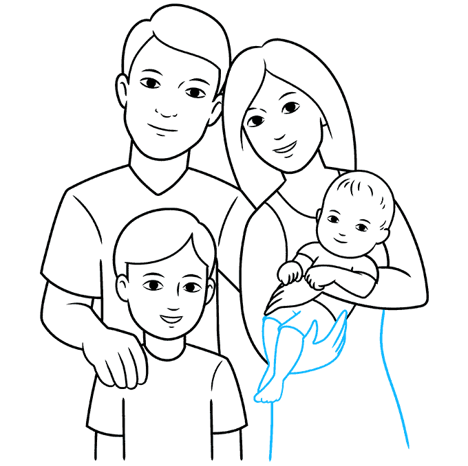 How to Draw a Family Step 09