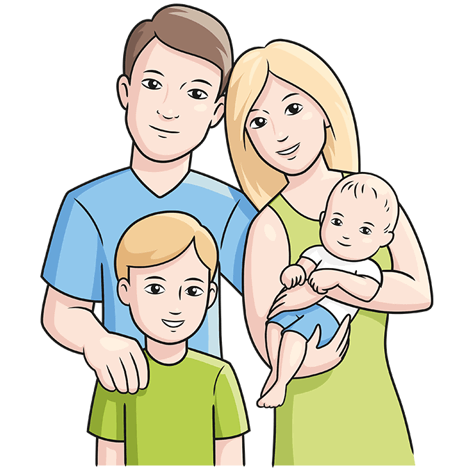 How to Draw a Family Step 10