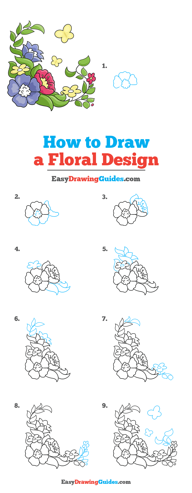 How to Draw a Floral Design Step by Step Tutorial Image