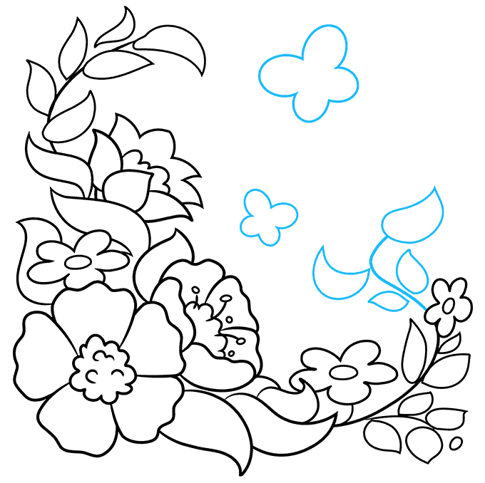 How to Draw a Floral Design Step 09