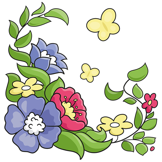 How to Draw a Floral Design Step 10
