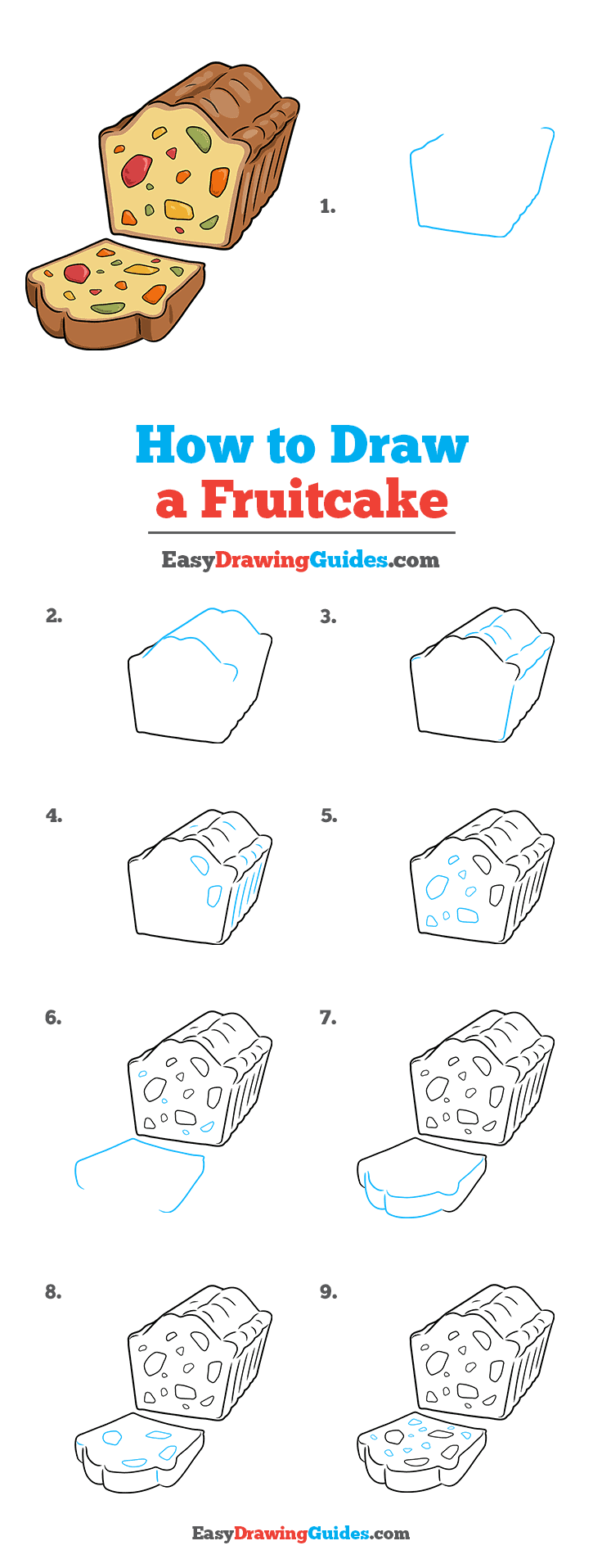 How to Draw a Fruitcake Step by Step Tutorial Image