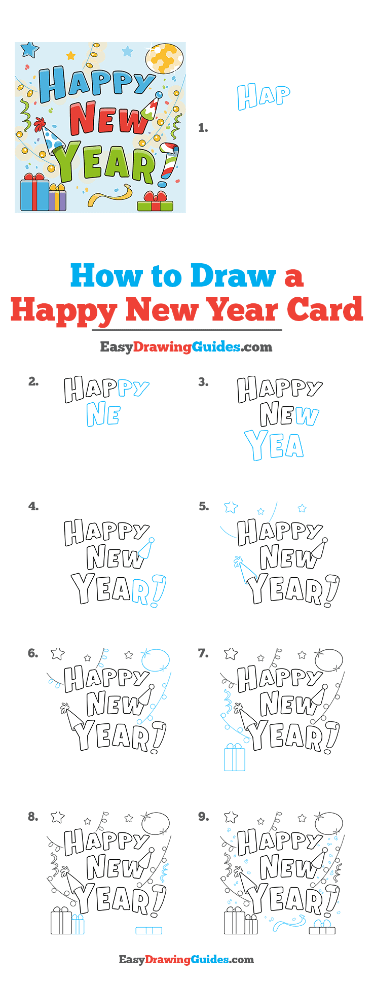 How to Draw Happy New Year Card