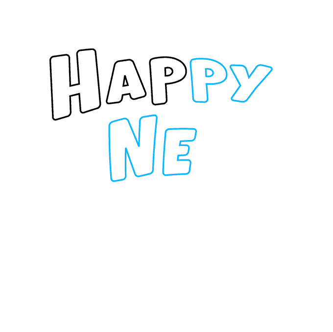How to Draw Happy New Year Card: Step 2